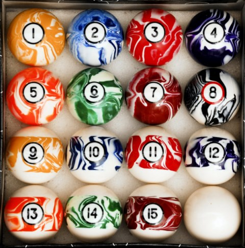 Case of 6 - Marble Swirl Style Pool Ball Sets